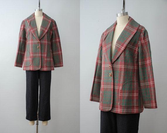 plaid wool jacket | pink plaid coat