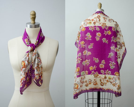 large square silk scarf | purple floral scarf | 1… - image 1
