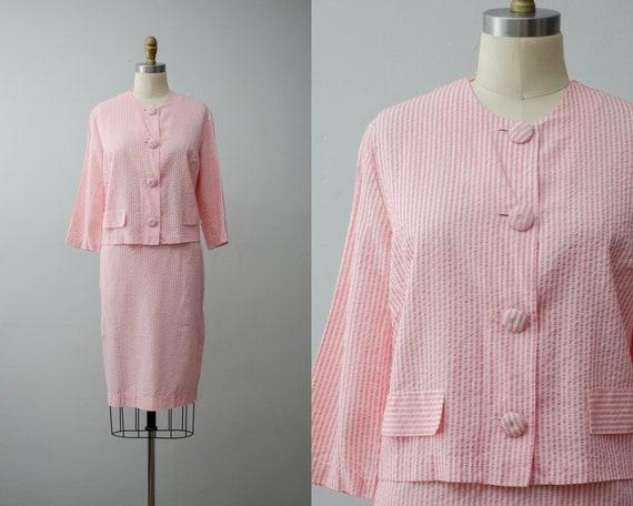 pink and cream suit | lightweight seersucker suit