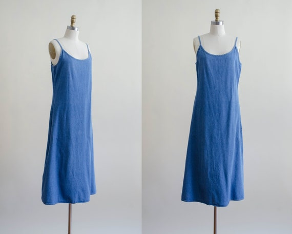 spaghetti strap dress | denim midi dress