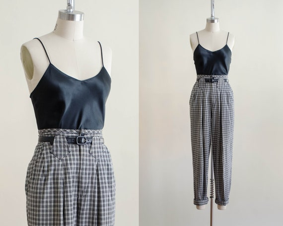 high waisted pants | 80s black and white plaid tr… - image 1
