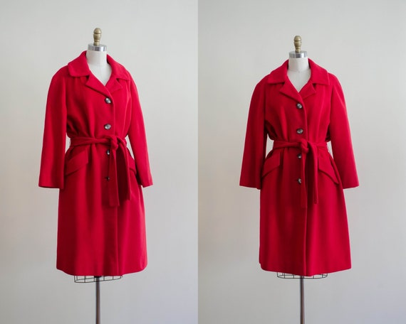 red cashmere coat | red belted coat