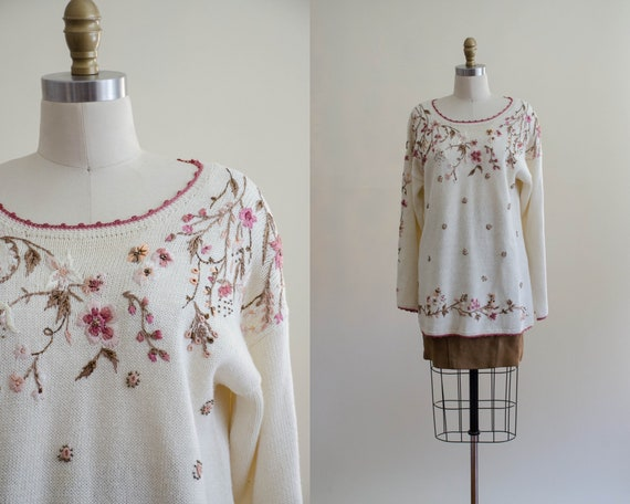 oversized floral sweater   cream embroidered sweat