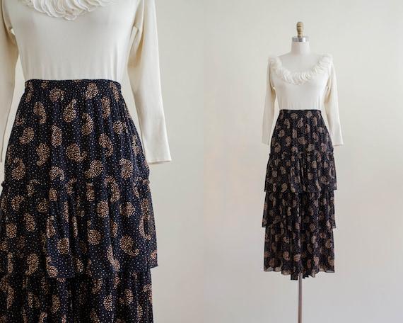 black polka dot skirt | tiered midi skirt | prairi