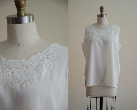 white tank top | embroidered blouse | white lace t