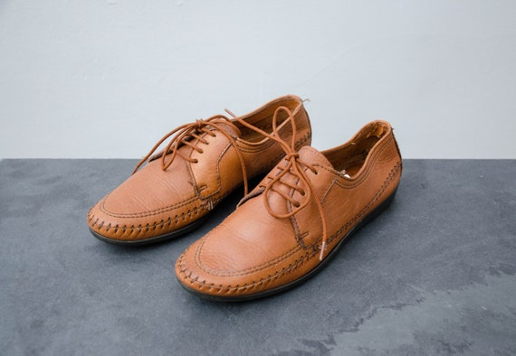brown moccasin oxfords   brown leather shoes
