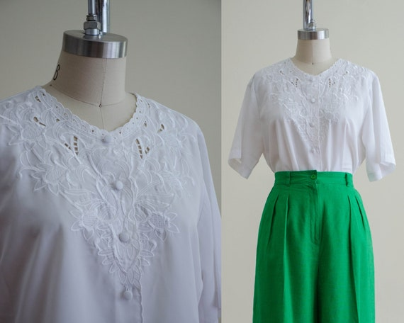 cutwork lace blouse | white embroidered blouse