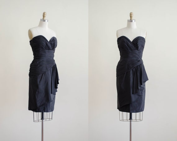 black cocktail dress | strapless black dress | Tad