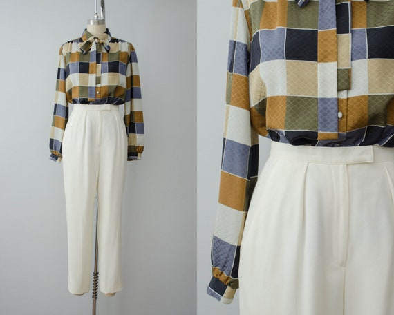 high waisted pants | cream trousers