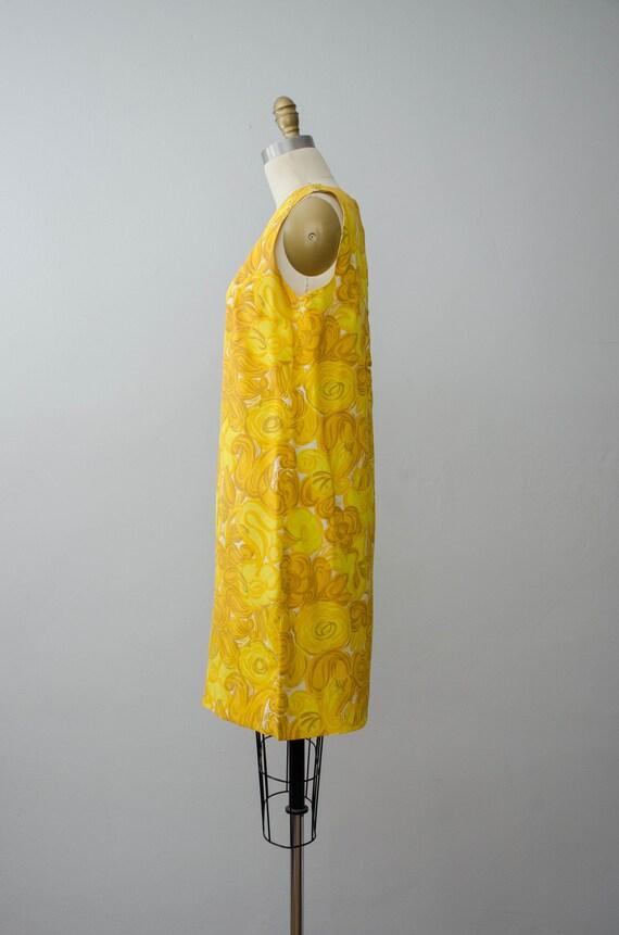 bright yellow shift dress | 1960s sleeveless dress - image 5