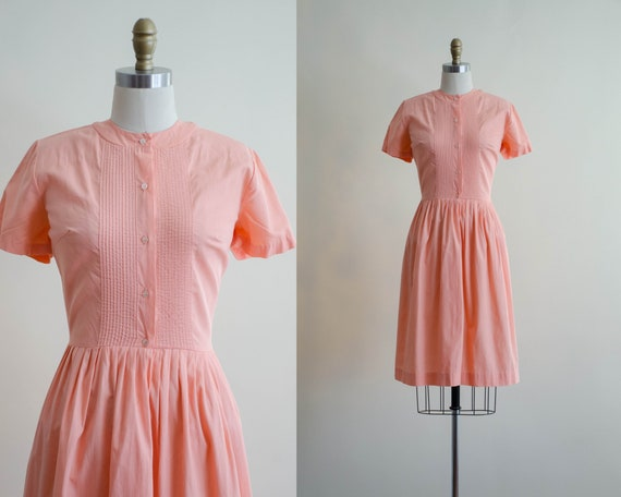 fit and flare dress | short sleeve peach dress