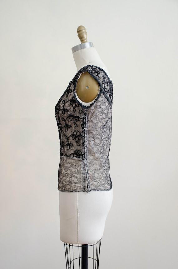 1950s black lace top | lace illusion blouse - image 9
