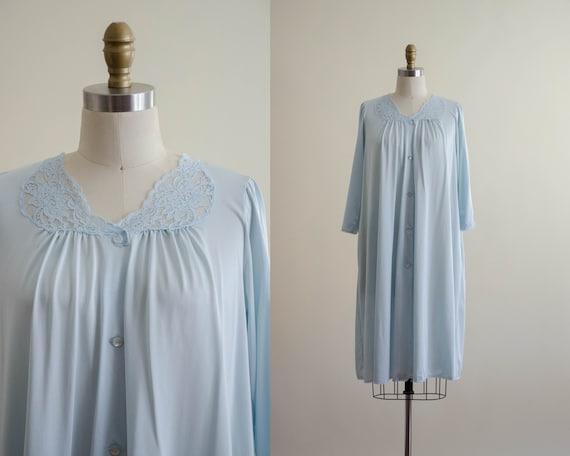 pale blue housecoat   silky housecoat