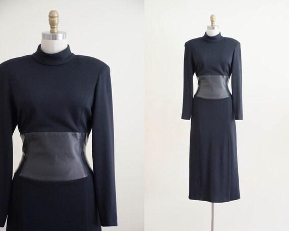 black wool sweater dress | black wool midi dress |