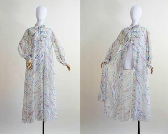 sheer floral robe | full length robe
