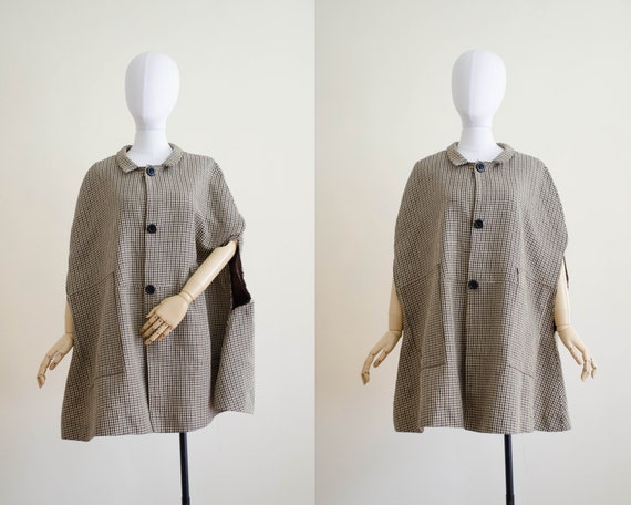 houndstooth wool cape | tan wool cape | 1960s cape