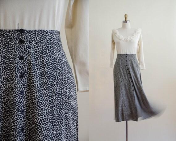 black midi skirt | clover patterned skirt