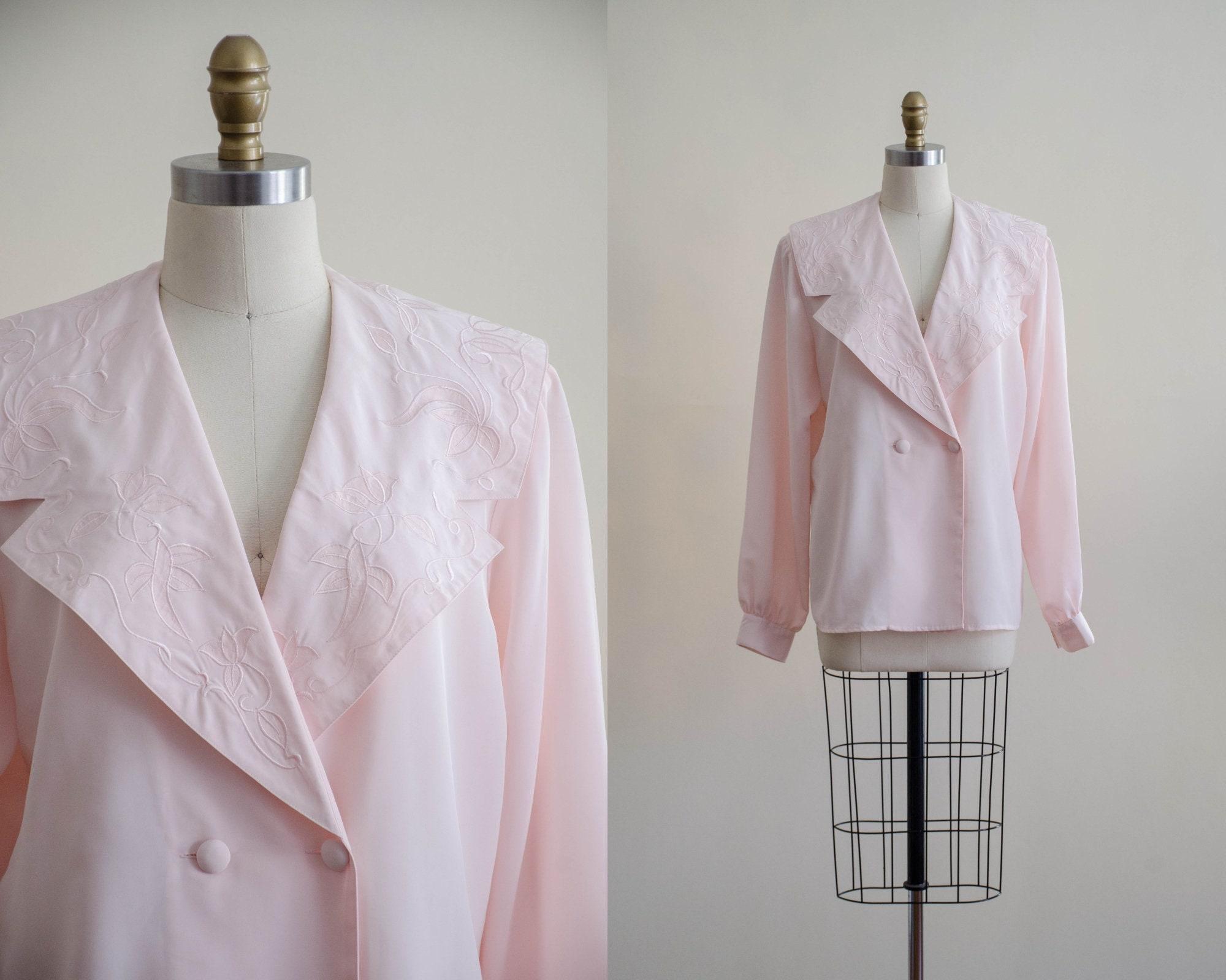 80s Tops, Shirts, T-shirts, Blouse   90s T-shirts 80S Pink Embroidered Sailor Collar Blouse  Blush Romantic Cottagecore Vintage Shirt $44.00 AT vintagedancer.com