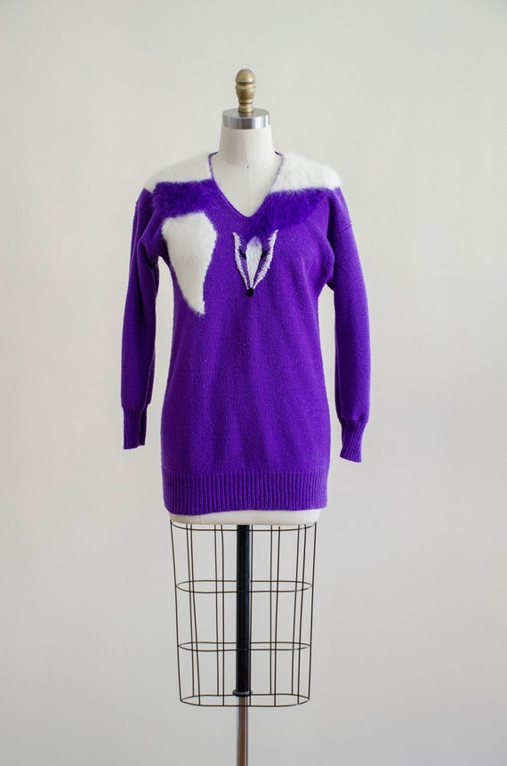 vintage purple fox sweater | fuzzy angora sweater… - image 2