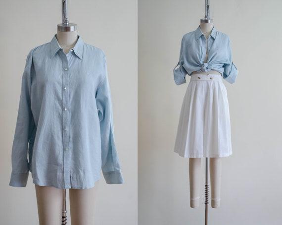 aquamarine linen blouse | Ralph Lauren blouse | lo