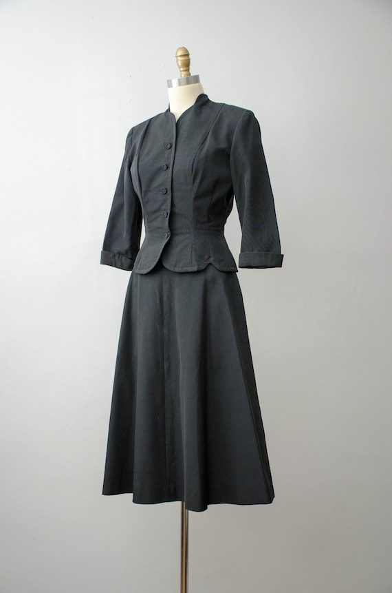 1940s black skirt suit   taffeta skirt suit   Jea… - image 6