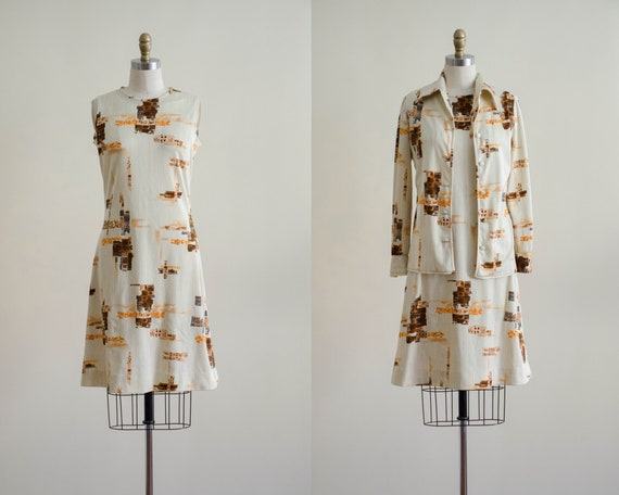 1970s dress set | cream dress and blouse set | Edi
