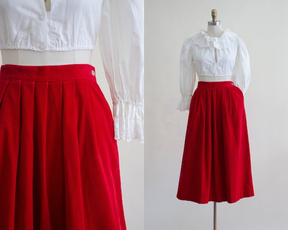 red corduroy midi skirt | red fit and flare skirt