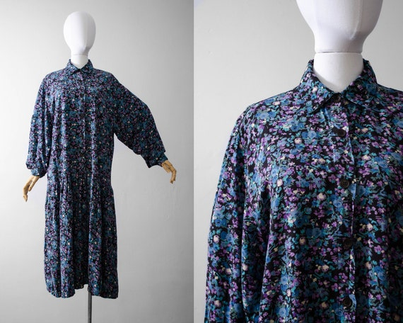 oversized midi dress | blue floral midi dress