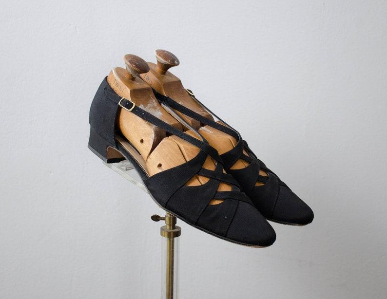 c5b2d8b2c71e5 black strappy cutout sandals   d'Orsay sandals   US 9.5 EU 40