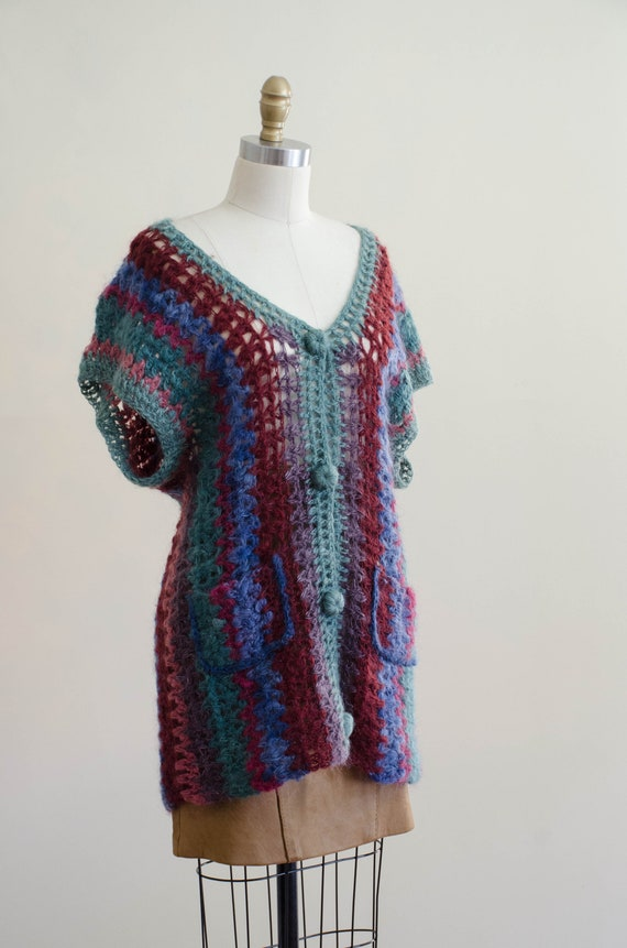 long mohair sweater | hand knit mohair vest | Ros… - image 7