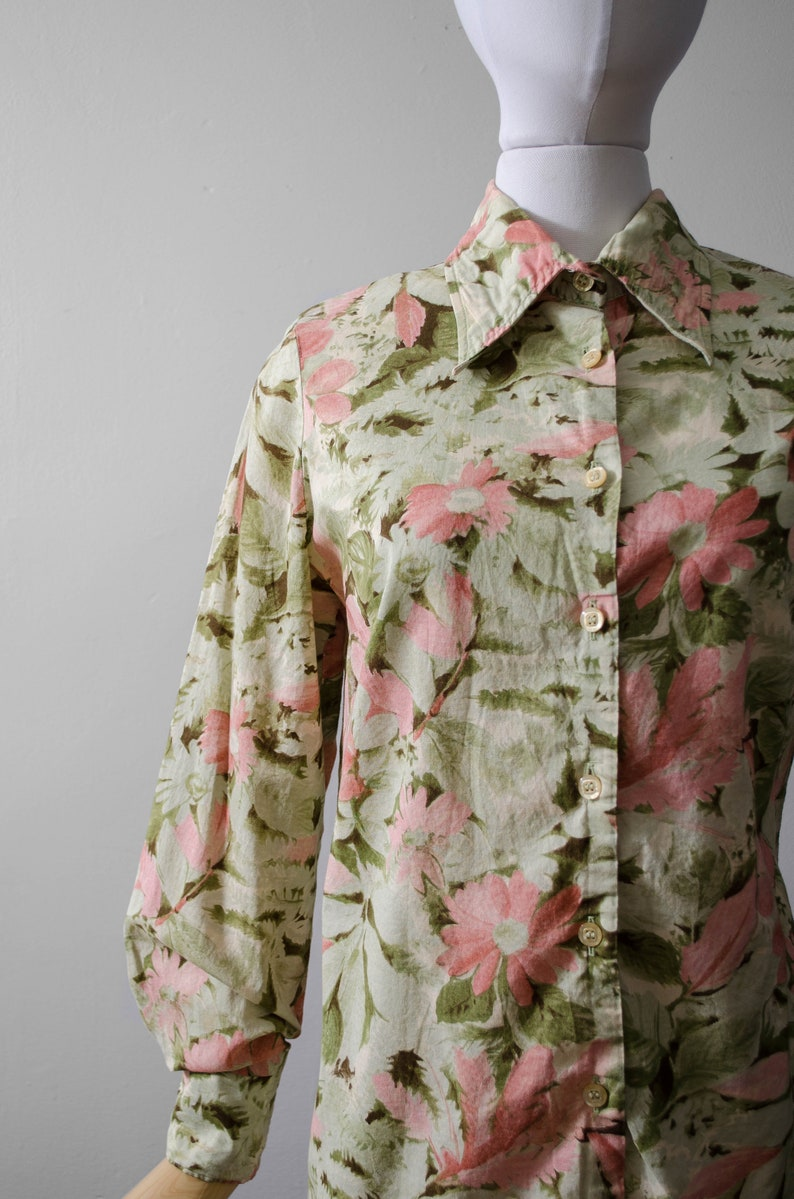 long sleeve floral cotton blouse 1970s blouse