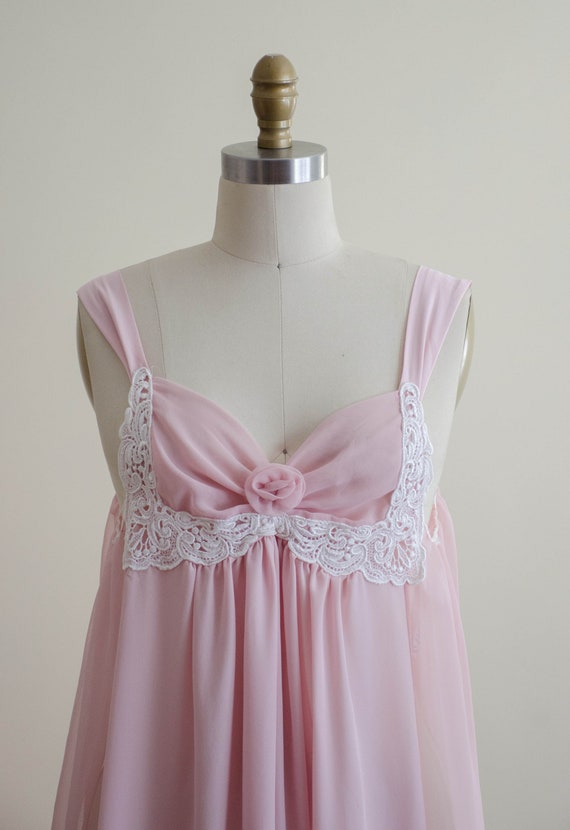 dreamy pink chiffon nightgown | empire waist nigh… - image 3