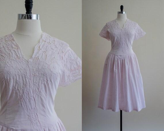 pink cutwork lace dress | pale pink sundress