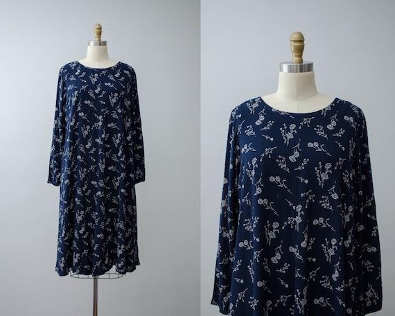 navy floral dress | oversized dress | navy midi dr