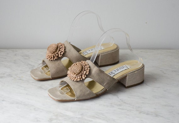 chunky sandals | taupe fabric mules | 1990s shoes… - image 1