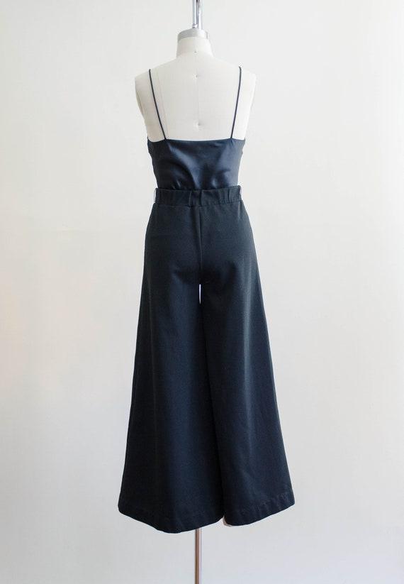 70s black wide leg pants | high waisted palazzo f… - image 6