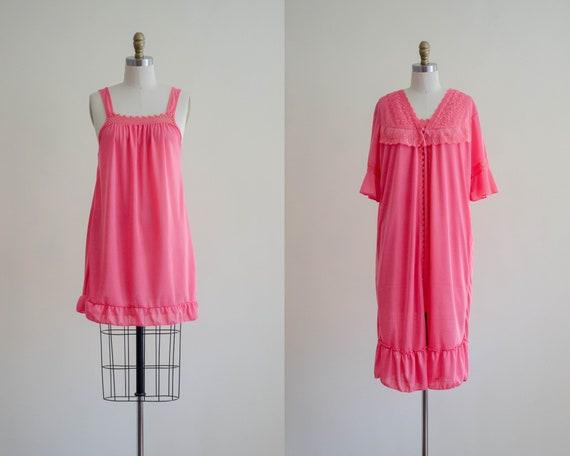 hot pink peignoir | silky pink lingerie | vintage