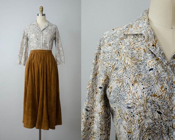 1950s blouse | 1950s floral cotton blouse | rhines