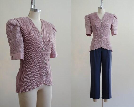 sheer puff sleeve blouse | mauve blouse | plissé p