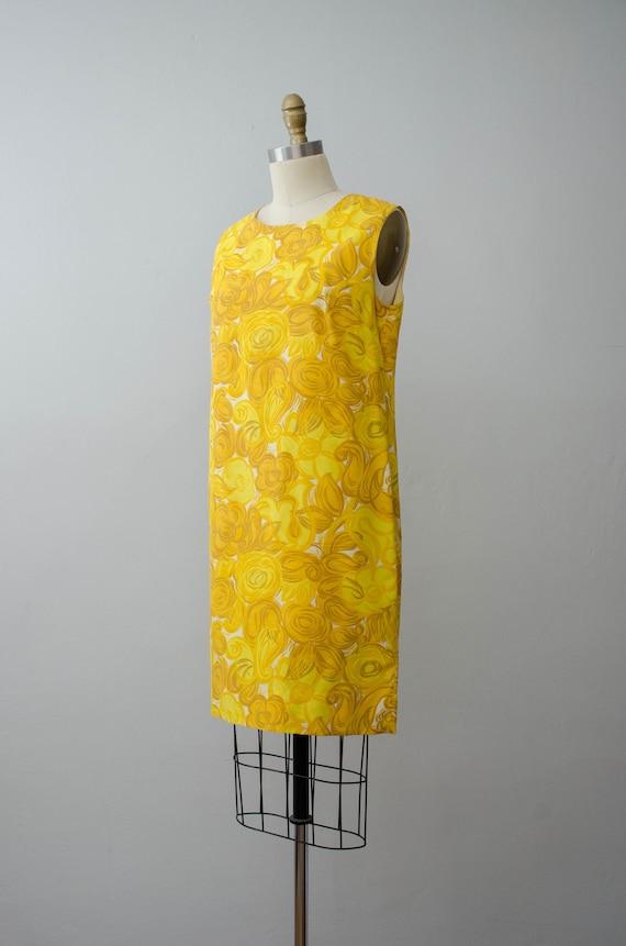 bright yellow shift dress | 1960s sleeveless dress - image 4