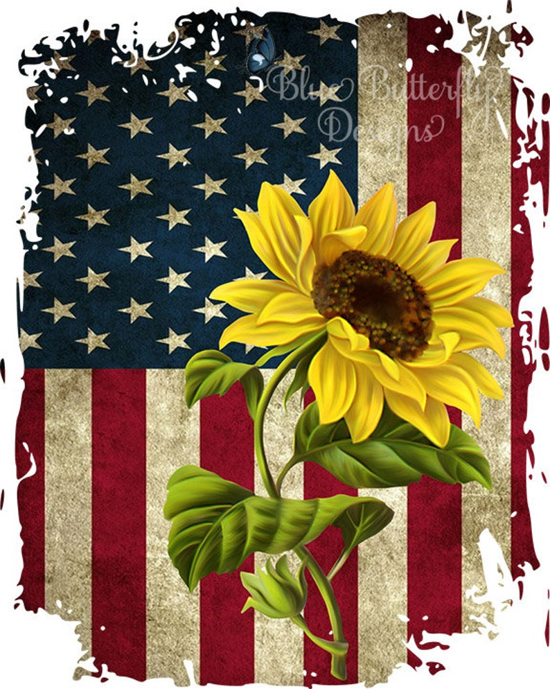 Ready To Press American Flag with Sunflower Sublimation Transfer Ready to Press American Flag Transfer 4th of July, Sublimation Transfer