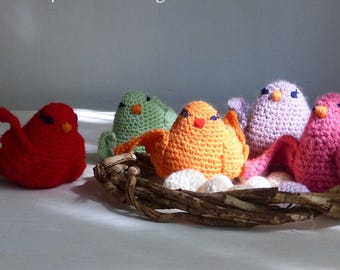 Crochet pattern amigurumi birds, nest and eggs - toy, baby mobile PDF - Instant DOWNLOAD