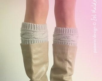 KNIT PATTERN Boot cuff pattern Boho Knits - Boot Cuffs, leg warmers, boot topper Knitting Pattern - Instant DOWNLOAD knit cable pattern