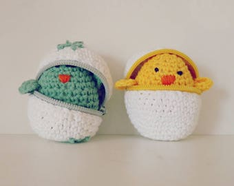Crochet Pattern Easter eggs & baby chicks Crochet Amigurumi Pattern - playful egg box TOY kids  - Instant Download Crochet Doll Pattern