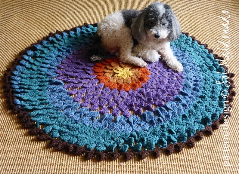 CROCHET PATTERN Pet Rug Crochet Pattern Flower Round Comfy Mat Photo tutorial Instant DOWNLOAD crochet pattern mat petfriendly