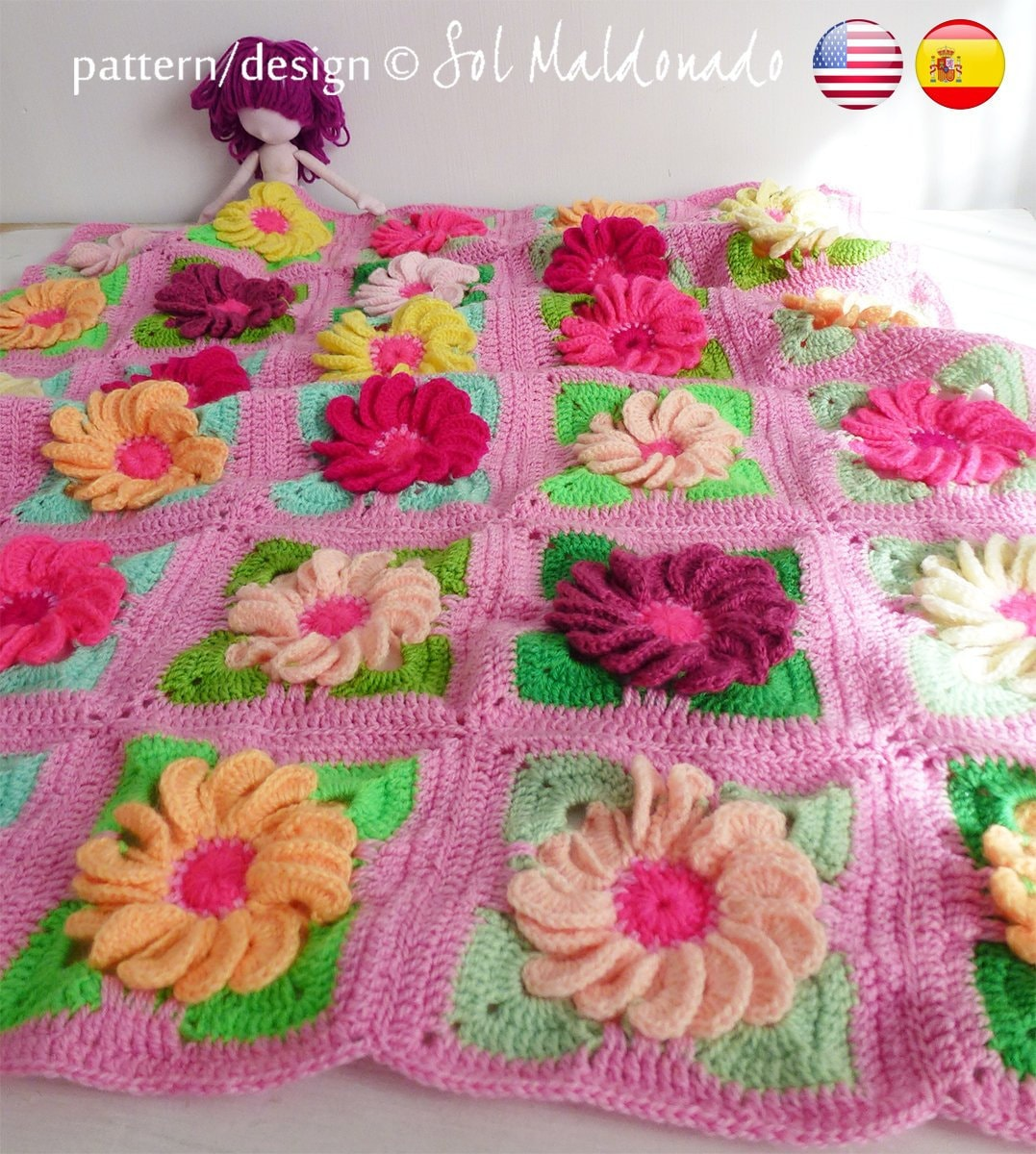 Baby Blanket Floral Crochet Pattern Gerbera 3d Flower Granny Etsy