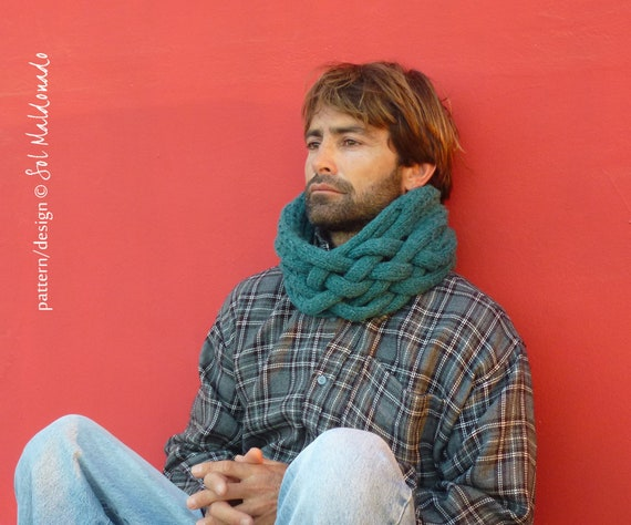Man Cowl Knitting Pattern Cowl Scarf Snood Instant Download Knit