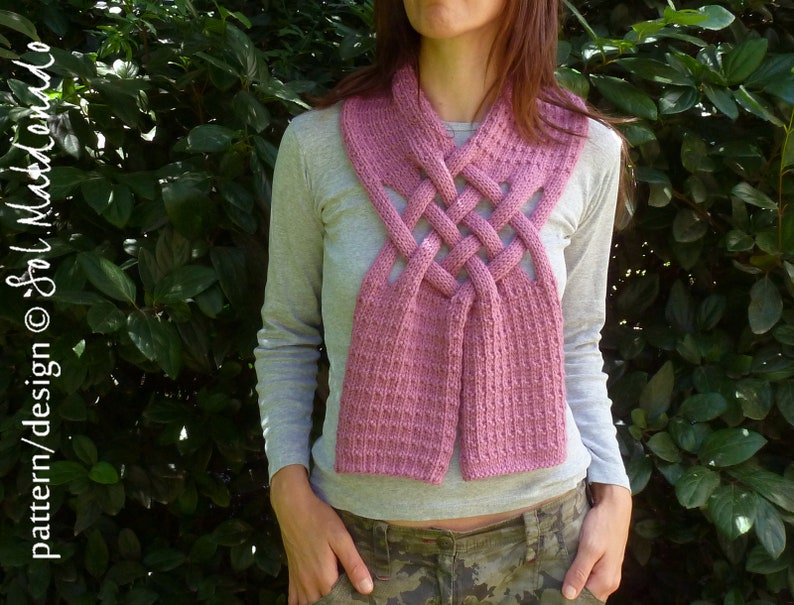 Knit Pattern Cowl Scarf Knits Pattern Weave Braided Scarf Knitting