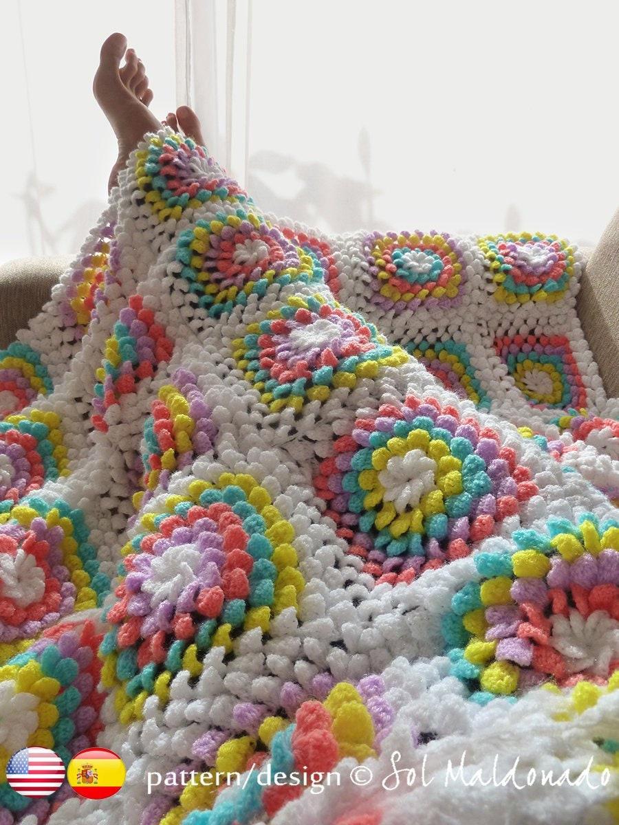 Blanket Crochet Pattern Yummy Flower Granny Square Photo Etsy Trippy Hippy Afghan Kingdom