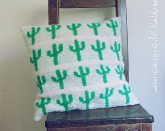 CROCHET tapestry PATTERN - Cactus Crochet Pattern Pillow cover & Wall Hanging Tapestry Crochet Pattern cacti cushion / wall hang art crochet